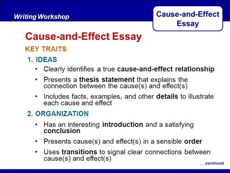 After Reading KEY TRAITS Writing Workshop Cause-and-Effect Essay...continued 1.IDEAS 2. ORGANIZATION Clearly identifies a true cause-and-effect relationship.