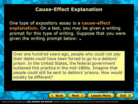 cause effect essay writing prompts List of 100 cause and effect essay topics includes topics grouped by college, technology, about animals, popular click for the list.