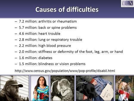 Causes of difficulties – 7.2 million: arthritis or rheumatism – 5.7 million: back or spine problems – 4.6 million: heart trouble – 2.8 million: lung or.