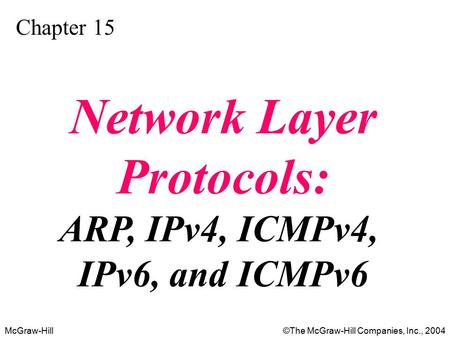 McGraw-Hill©The McGraw-Hill Companies, Inc., 2004 Chapter 15 Network Layer Protocols: ARP, IPv4, ICMPv4, IPv6, and ICMPv6.