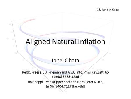Aligned Natural Inflation Ippei Obata Ref)K. Freese, J.A.Frieman and A.V.Olinto, Phys.Rev.Lett. 65 (1990) 3233-3236 Rolf Kappl, Sven Krippendorf and Hans.