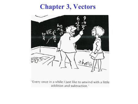 Chapter 3, Vectors. Outline Two Dimensional Vectors –Magnitude –Direction Vector Operations –Equality of vectors –Vector addition –Scalar product of two.