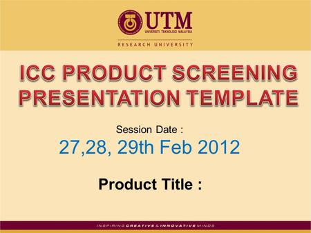 Product Title : Session Date : 27,28, 29th Feb 2012.
