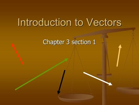 Introduction to Vectors Chapter 3 section 1. Scalar Quantity Scalar – A quantity that can be completely specified by its magnitude, but NO direction.
