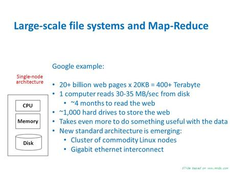 Large-scale file systems and Map-Reduce Single-node architecture Memory Disk CPU Google example: 20+ billion web pages x 20KB = 400+ Terabyte 1 computer.