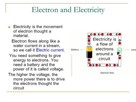 Electron and Electricity Electricity is the movement of electron thought a material. Electron flows along like a water current in a stream, so we call.