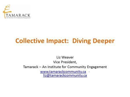Collective Impact: Diving Deeper Liz Weaver Vice President, Tamarack – An Institute for Community Engagement www.tamarackcommunity.cawww.tamarackcommunity.ca.