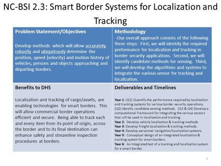 NC-BSI 2.3: Smart Border Systems for Localization and Tracking Problem Statement/Objectives Develop methods which will allow accurately, robustly and ubiquitously.