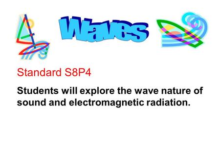 Standard S8P4 Students will explore the wave nature of sound and electromagnetic radiation.
