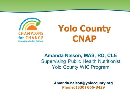 Amanda Nelson, MAS, RD, CLE Supervising Public Health Nutritionist Yolo County WIC Program Yolo County CNAP