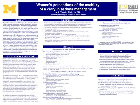 Women's perceptions of the usability of a diary in asthma management M.A. Valerio, Ph.D., M.P.H. University of Michigan School of Public Health A qualitative.