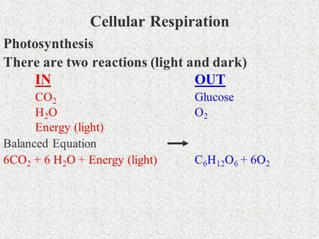 Cellular Respiration Photosynthesis There are two reactions (light and dark) INOUT CO 2 Glucose H2OH2OO2O2 Energy (light) Balanced Equation 6CO 2 + 6 H.