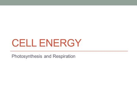 CELL ENERGY Photosynthesis and Respiration. You should be able to… 1. Describe the role of ATP in biochemical reactions. 2. Describe the fundamental roles.