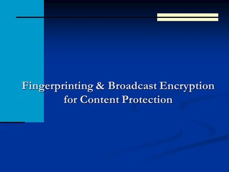 Fingerprinting & Broadcast Encryption for Content Protection.