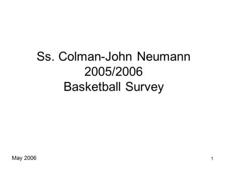 1 Ss. Colman-John Neumann 2005/2006 Basketball Survey May 2006.