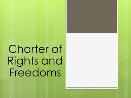 Charter of Rights and Freedoms. How does the Charter of Rights protect an individual?