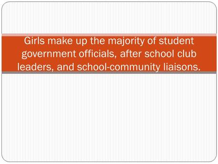 Girls make up the majority of student government officials, after school club leaders, and school-community liaisons.