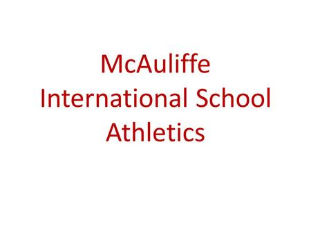 McAuliffe International School Athletics. The McAuliffe Sun Devils.