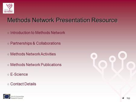 Top Methods Network Presentation Resource ○ Introduction to Methods Network Introduction to Methods Network ○ Partnerships & Collaborations Partnerships.