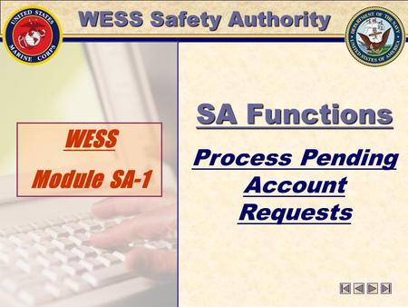 WESS Safety Authority WESS Module SA-1 SA Functions Process Pending Account Requests.