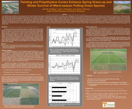 Abstract: Low temperature injury, winterkill, and slow spring green-up are common problems facing managers of warm-season putting greens in the transition.