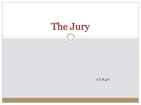 CLN4U The Jury. People who are charged with a certain serious indictable offence have the option of trial before a judge and jury. In a jury trial, findings.