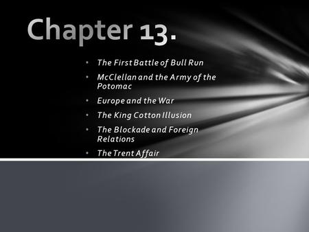 The First Battle of Bull Run McClellan and the Army of the Potomac Europe and the War The King C0tton Illusion The Blockade and Foreign Relations The Trent.