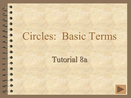 Circles: Basic Terms Tutorial 8a. Parts of a Circle  A circle is the set of all points in a plane equidistant from a given point.  Name a circle by.