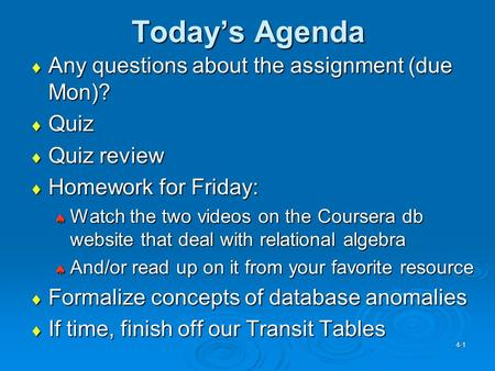 Today's Agenda  Any questions about the assignment (due Mon)?  Quiz  Quiz review  Homework for Friday:  Watch the two videos on the Coursera db website.