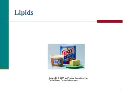 1 Lipids Copyright © 2007 by Pearson Education, Inc. Publishing as Benjamin Cummings.
