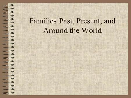 Families Past, Present, and Around the World. Unit Sub-Topics Different Types of Families Family Roles and Responsibilities Our Classroom Family Family.
