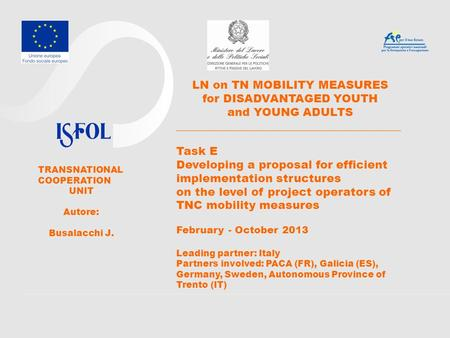 LN on TN MOBILITY MEASURES for DISADVANTAGED YOUTH and YOUNG ADULTS ________________________________________ Task E Developing a proposal for efficient.