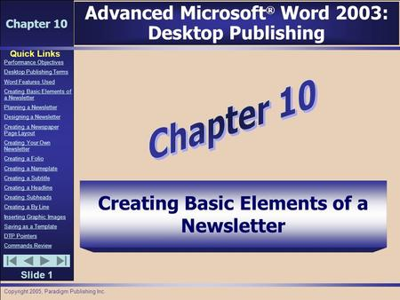 Chapter 10 Quick Links Slide 1 Performance Objectives Desktop Publishing Terms Word Features Used Creating Basic Elements of a Newsletter Planning a Newsletter.