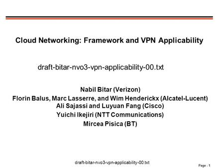 Draft-bitar-nvo3-vpn-applicability-00.txt Page - 1 Cloud Networking: Framework and VPN Applicability draft-bitar-nvo3-vpn-applicability-00.txt Nabil Bitar.