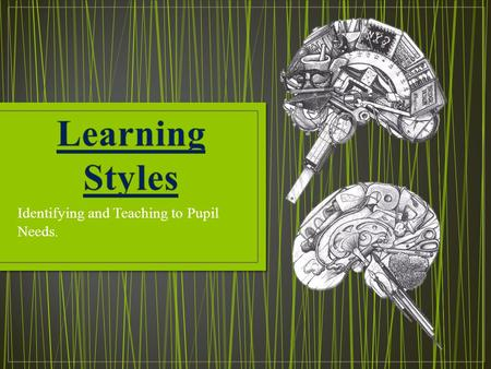 Identifying and Teaching to Pupil Needs.. When planning a lesson we have to consider the learning styles of the pupils. The three styles that pupils usually.