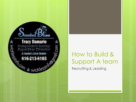 How to Build & Support A team Recruiting & Leading.