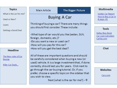 Topics Buying A Car Multimedia Tools Chat Websites Headline Main Article The Bigger Picture Kelley Blue Book Car Loan Calculator Carfax.com Cars.com What.