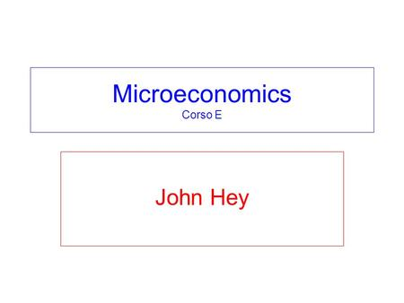 Microeconomics Corso E John Hey. Chapters 23, 24 and 25 CHOICE UNDER RISK Chapter 23: The Budget Constraint. Chapter 24: The Expected Utility Model. Chapter.
