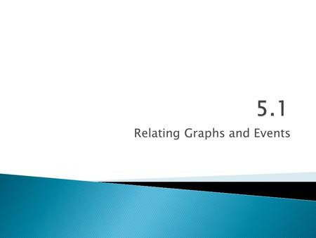 "Relating Graphs and Events. 5.1 – Relating Graphs & Events  Goals / ""I can…"" ◦ Interpret, sketch, and analyze graphs from situations."