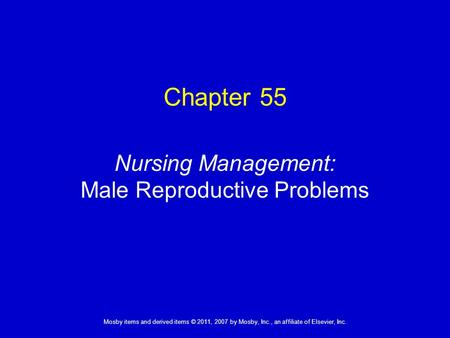Nursing Management: Female Reproductive Problems
