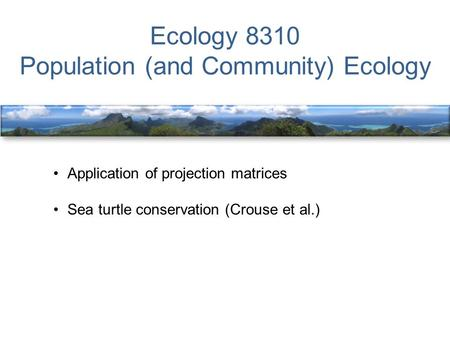 Ecology 8310 Population (and Community) Ecology Application of projection matrices Sea turtle conservation (Crouse et al.)
