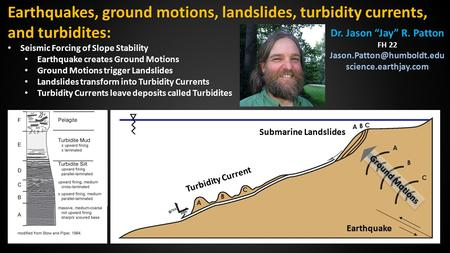 Turbidity Current Earthquake Earthquakes, ground motions, landslides, turbidity currents, and turbidites: Seismic Forcing of Slope Stability Seismic Forcing.