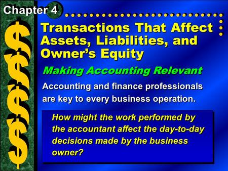Transactions That Affect Assets, Liabilities, and Owner's Equity Making Accounting Relevant Accounting and finance professionals are key to every business.