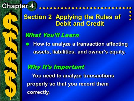 Section 2Applying the Rules of Debit and Credit What You'll Learn  How to analyze a transaction affecting assets, liabilities, and owner's equity. What.