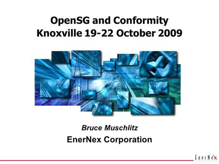 OpenSG and Conformity Bruce Muschlitz EnerNex Corporation Knoxville 19-22 October 2009.