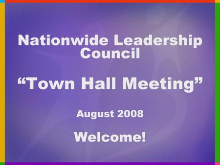 "Nationwide Leadership Council ""Town Hall Meeting"" August 2008 Welcome!"