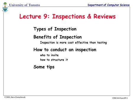 Lecture 9: Inspections & Reviews
