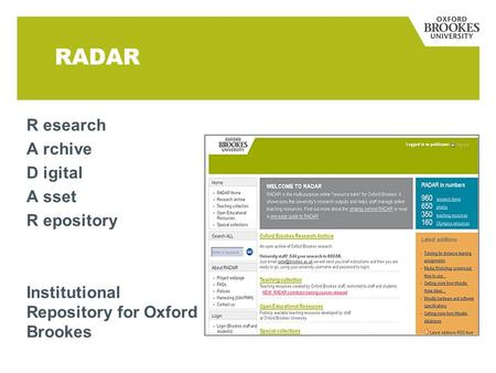 RADAR R esearch A rchive D igital A sset R epository Institutional Repository for Oxford Brookes.