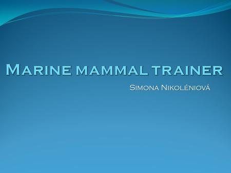 Simona Nikoléniová. What does a marine mammal trainer really do? Train dolphins, whales, seals, sea lions, walruses and other marine mammals using a system.