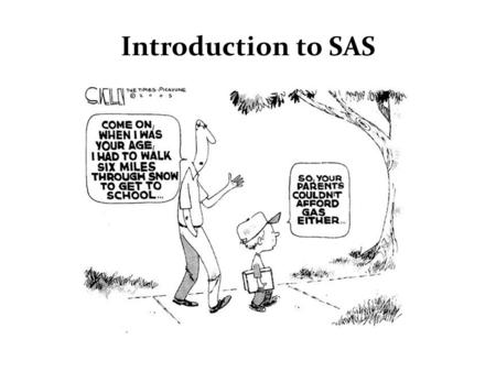 "Introduction to SAS. What is SAS? SAS originally stood for ""Statistical Analysis System"". SAS is a computer software system that provides all the tools."
